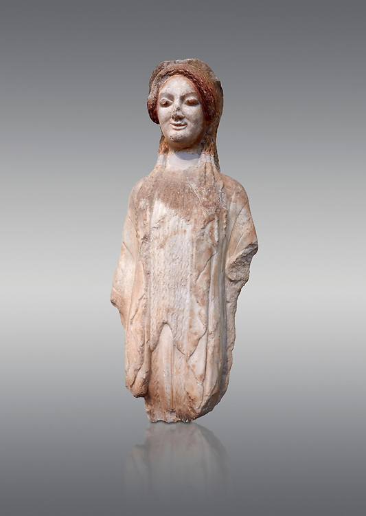 Ancient Greek Archaic statuette of a  kore, found in the Acropolis Athens, 490 BC, Athens National Archaeological Museum. Cat no BE 16/2009.  Against grey.<br /> <br /> The kore statues hair is adorned with a wreath and her ears by round disk earings. Traces of paint can be found on her garments and jewellery. Red paint was found on her hair and eyes, Acropolis Museum Cat no 687 .<br /> <br /> If you prefer to buy from our ALAMY STOCK LIBRARY page at https://www.alamy.com/portfolio/paul-williams-funkystock/greco-roman-sculptures.html . Type -    Athens    - into LOWER SEARCH WITHIN GALLERY box - Refine search by adding a subject, place, background colour, etc.<br /> <br /> Visit our ROMAN WORLD PHOTO COLLECTIONS for more photos to download or buy as wall art prints https://funkystock.photoshelter.com/gallery-collection/The-Romans-Art-Artefacts-Antiquities-Historic-Sites-Pictures-Images/C0000r2uLJJo9_s0