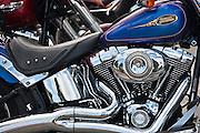 Harley Davidson Fatboy 90 cubic inches engine motorbike in Miami, Florida, USA