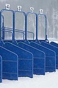 Starting stalls at the White Turf 2011 horse  racing event in St Moritz, Switzerland.