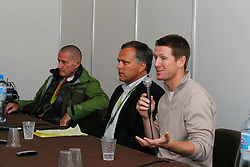 George Morris (USA) chef d'equipe, McLain Ward (USA) and Ober Tim (USA) Veterinarian of the USA team<br /> Pressconference concerning disqualification of McLain Ward's horse Sapphire due to a positive Hypersensitivity test after the second competion of the Rolex FEI World Cup Final - Geneve 2010<br /> also in this picture Jan Tops, Michael Withaker<br /> © Dirk Caremans