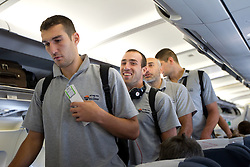 Bulgarian national basketball team in the airplane at departure to Eurobasket Lithuania 2011, on August 29, 2011, in Prague, Czech republic. (Photo by Vid Ponikvar / Sportida)