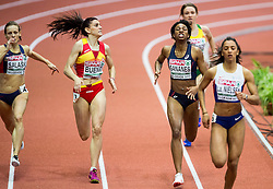 Tamara Salaski of Serbia, Laura Bueno of Spain, Deborah Sananes of France and Laviai Nielsen of Great Britain compete in the Women's 400 metres heats on day one of the 2017 European Athletics Indoor Championships at the Kombank Arena on March 3, 2017 in Belgrade, Serbia. Photo by Vid Ponikvar / Sportida