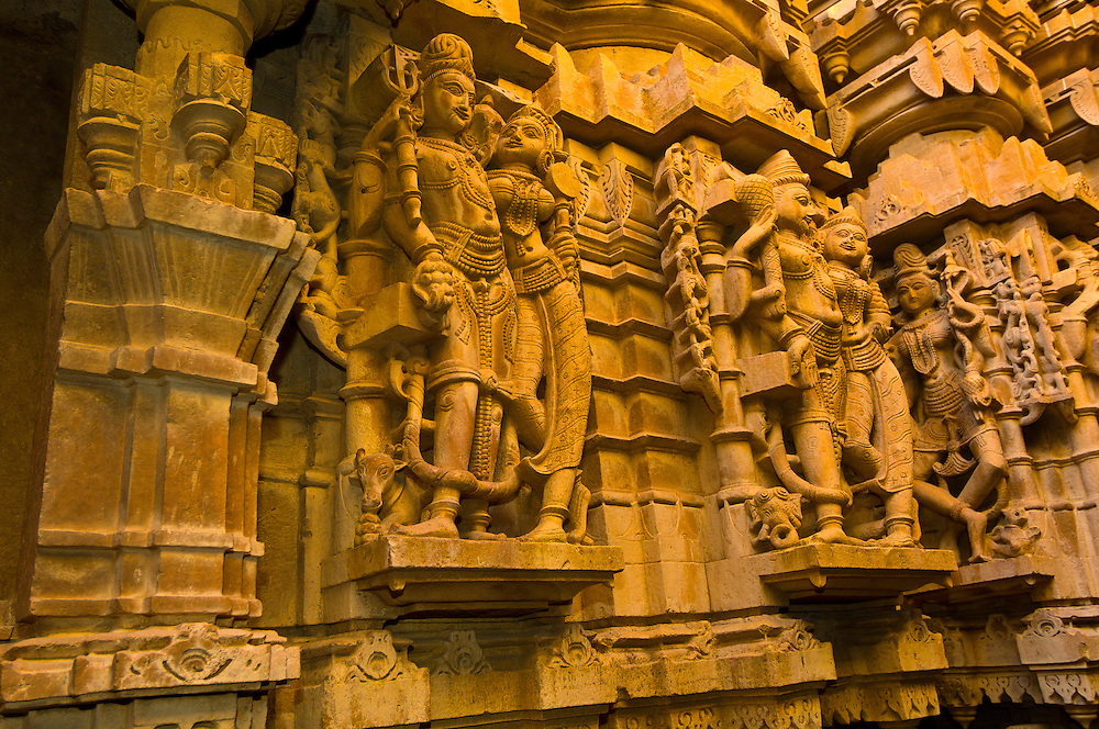 Temple carvings on the interior of the Jain Temple in the Jaisalmer Fort, Jaisalmer, Rajasthan, India