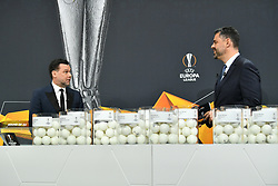NYON, SWITZERLAND - Monday, December 14, 2020: Special guest former Portugal player Maniche (L) and presenter Pedro Pinto during the UEFA Europa League 2020/21 Round of 32 draw at the UEFA Headquarters, the House of European Football. (Photo Handout/UEFA)