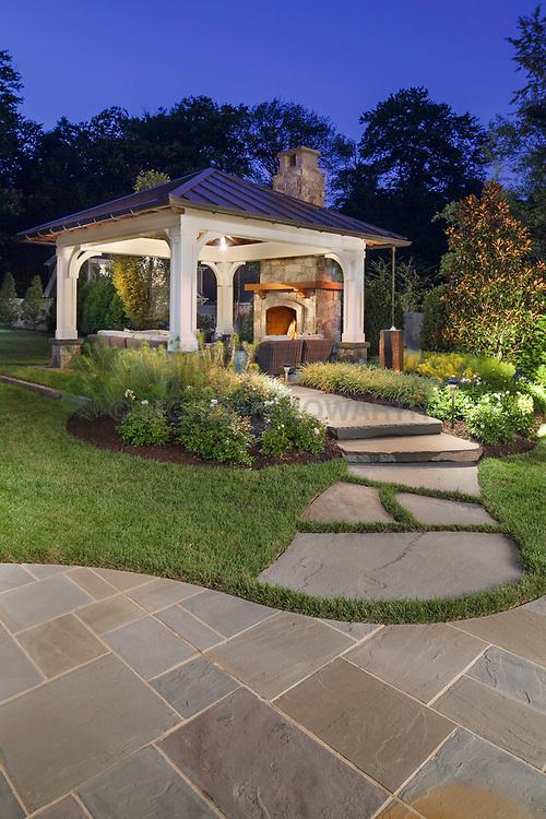 Surrounds_1500 VA1-966-326 322 Owaissa Twilight shot of outdoor pavilion with large stone pathway