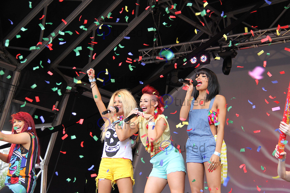 Belle Amie; Esther Campbell; Rebecca Creighton; Sophia Wardman Pride London Trafalgar Square, Westminster, London, UK, 02 July 2011:  Contact: Rich@Piqtured.com +44(0)7941 079620 (Picture by Richard Goldschmidt)