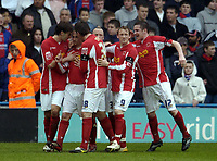Photo: Olly Greenwood.<br />Crystal Palace v Crewe Alexander. Coca Cola Championship. 15/04/2006. Crewes Kenny Lunt celebrates scoring the equalising goal with his team mates