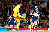 Guilherme Marinato of Russia (1) (Locomotiv Moscow) clears the danger as Scotland forward Oliver McBurnie (9) (Sheffield United) rushes in during the UEFA European 2020 Qualifier match between Scotland and Russia at Hampden Park, Glasgow, United Kingdom on 6 September 2019.