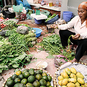 Fruits and vegetables for sale at a morning market in Hanoi, Vietnam.