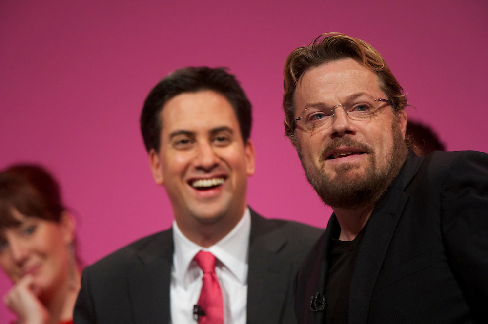 Comedian Eddie Izzard chairs a Q&A with Labour leader Ed Miliband and young delegates at the Labour Party Conference in Manchester on 29 September 2010, the penultimate day of annual assembly.