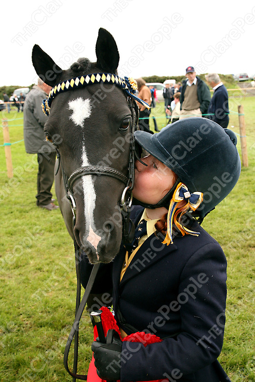 Ciana Brett from Killaloe gives her pony Prince a kiss after they came first in both the 128 show pony class and my little pony class at the Mullagh Show on Sunday.<br /><br />Photograph by Yvonne Vaughan.