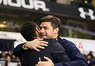 Tottenham's Mauricio Pochettino hugs Everton's Roberto Martinez<br /> <br /> Barclays Premier League- Tottenham Hotspur vs Everton - White Hart Lane - England - 30th November 2014 - Picture David Klein/Sportimage