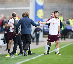 Hearts Head Coach Robbie Neilson and Hearts Tony Watt at the end. Partick Thistle 1 v 2 Hearts, Ladbrokes Premiership match played 27/89/2016 at Firhill.
