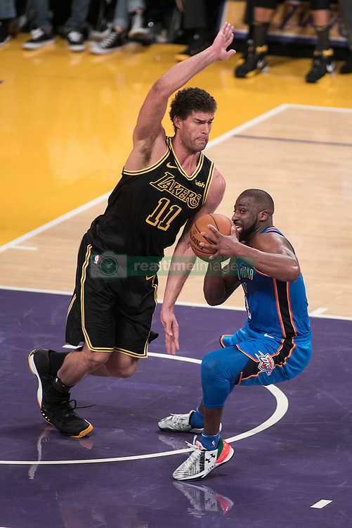 February 8, 2018 - Los Angeles, California, U.S - Brook Lopez #11 of the Los Angeles Lakers defends against  Raymond Felton #2 of the Oklahoma Thunder during their NBA game on Thursday February 8, 2018 at the Staples Center in Los Angeles, California. Lakers vs. Thunder. (Credit Image: © Prensa Internacional via ZUMA Wire)