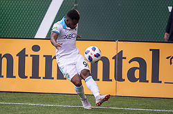 November 4, 2018 - Portland, OR, U.S. - PORTLAND, OR - NOVEMBER 04: Seattle Sounders forward Francis Waylon Francis (90) takes a cross during the Portland Timbers first leg of the MLS Western Conference Semifinals against the Seattle Sounders on November 04, 2018, at Providence Park in Portland, OR. (Photo by Diego Diaz/Icon Sportswire) (Credit Image: © Diego Diaz/Icon SMI via ZUMA Press)