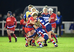 Clara Nielson and Elinor Snowsill of Bristol Ladies tackle Hannah Bluck of Worcester Valkyries - Mandatory by-line: Paul Knight/JMP - 16/12/2017 - RUGBY - Cleve RFC - Bristol, England - Bristol Ladies v Worcester Valkyries - Tyrrells Premier 15s