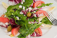 Close up of salad made of arugula, radicchio, belgian endive, bibb lettuce, tomatoes, and olives.
