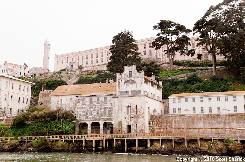 A view of Alcatraz Prison from the water.