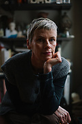 """Performance artist Michelle Ellsworth at her home in Boulder, Colo., where she is rehearsing for her upcoming show, """"The Rehearsal Artist,"""" on December 31, 2017. The project, which is a social-science experiment involving bifurcated body parts and performers in a spinning wheel, will open this year's American Realness festival on January 9, 2018."""
