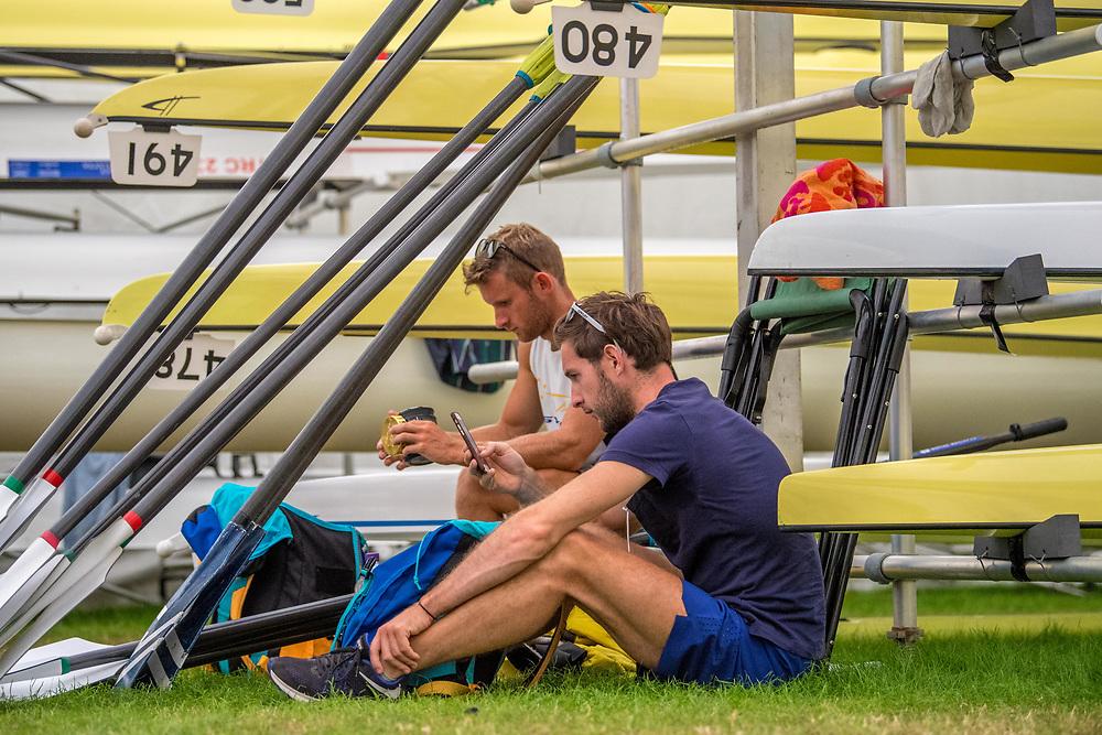 Gary and Paul O'Donovan from Ireland pre race <br /> <br /> HRR2018, Henley on Thames, England. Friday 6 July 2018. © Steve McArthur /  www.photosport.nz