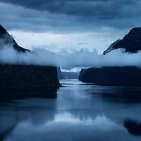 Clearing storm on Aurlandsfjord, Aurland, Sogn og Fjordane, Norway