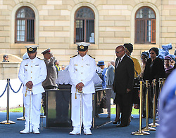 60818557 <br /> South African President Jacob Zuma (front, R) respects at the coffin of former South African President Nelson Mandela at the Union Buildings in Pretoria, South Africa, on Dec. 11, 2013. Thousands of South Africans on Wednesday thronged to the Union Buildings in Pretoria where the body of former South African president Nelson Mandela will lie in state for three days, Wednesday, 11th December 2013. Picture by  imago / i-Images<br /> UK ONLY
