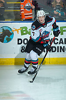 KELOWNA, BC - DECEMBER 30: Conner McDonald #7 of the Kelowna Rockets warms up on the ice with the puck against the Prince George Cougars at Prospera Place on December 30, 2019 in Kelowna, Canada. (Photo by Marissa Baecker/Shoot the Breeze)