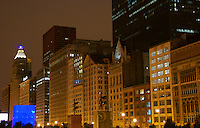 View of Buildings on Michigan Ave. in Chicago, his portion of the Avenue is located in front of Millennium Park, a popular tourist destination in Chicago