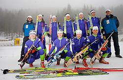 Tomas Kos, Vid Voncina, Tadeja Brankovic Likozar, Peter Dokl, Andreja Mali, Janez Maric, Dijana Grudicek Ravnikar, Klemen Bauer, Teja Gregorin, Vasja Rupnik and Uros Velepec of Slovenian biathlon team before new season 2009/2010,  on November 16, 2009, in Pokljuka, Slovenia.   (Photo by Vid Ponikvar / Sportida)