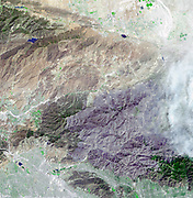 Station fire, burning in the San Gabriel Mountains north of Los Angeles. September 6, 2009. Satellite image.