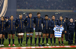 Argentina players pay tribute to the 44 missing members of the Argentinian navy submarine that is missing before the Autumn International at the Aviva Stadium, Dublin.