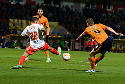 Stevenage's defender Curtis Obeng blocks a shot from Wolves midfielder David Edwards   - Photo mandatory by-line: Mitchell Gunn/JMP - Tel: Mobile: 07966 386802 01/04/2014 - SPORT - FOOTBALL - Broadhall Way - Stevenage - Stevenage v Wolverhampton Wanderers - League One
