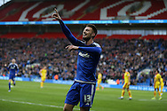 Anthony Pilkington of Cardiff city celebrates after he scores his teams 1st goal. Skybet football league championship match, Cardiff city v Rotherham Utd at the Cardiff city stadium in Cardiff, South Wales on  Saturday 23rd January 2016.<br /> pic by  Andrew Orchard, Andrew Orchard sports photography.