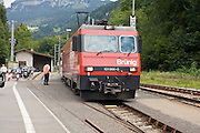 29 JULY 2007 -- INTERLAKEN, BERN, SWITZERLAND:  A passenger train comes down the Swiss Alps headed for the Interlaken Ost station in Interlaken. Interlaken, in the canton of Bern, is the center of the tourist industry in the Bernese Oberland region of Switzerland.  PHOTO BY JACK KURTZ