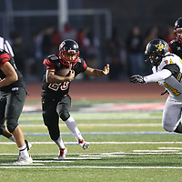 Westmont #28 Adolfo Carrasco vs Del Mar in a BVAL Football Game at Westmont High School, Campbell CA on 9/7/18. (Photograph by Bill Gerth)(Del Mar 35 Westmont 3)