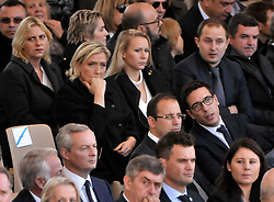 Marine Le Pen and Marion Marechal Le Pen attending the National Ceremony for the 86 victims of Nice terror attack on last 14th July 2016 at the Colline du Château in Nice, southern France, on october 15, 2016. Ministers and politicians in front of about 2000 people including the victims families and rescue forces participated ceremony. Photo by Pierre Rousseau/CIT'images/ABACAPRESS.COM