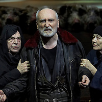 Gyula Bodrogi (L) as Kent, Peter Blasko (C) as King Lear and Mari Torocsik (R) as the fool in William Shakespeare's King Lear premiere in Hungarian National Theatre directed by Laszlo Bocsardi. Budapest, Hungary. Wednesday 07 February 2007. ATTILA VOLGYI