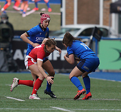 February 2, 2020, Cardiff, United Kingdom: Jasmine Joyce (Wales) and Maria Magatti (Italy) are seen in action during the women's Six Nations Rugby between wales and Italy at Cardiff Arms Park in Cardiff. (Credit Image: © Graham Glendinning/SOPA Images via ZUMA Wire)