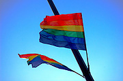 Gay Flag on blue sky background