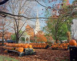 Church and Gazebo with Jack o Lanterns, Keene Pumpkin Festival