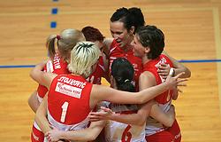 Sonja Borovinsek and Players of Nova KBM celebrate at 1st match of finals of 1st DOL women volleyball league between OK Hit Nova Gorica and OK Nova KBM Branik, Maribor played in OS Milojke Strukelj, on April 8, 2009, in Nova Gorica, Slovenia. Nova KBM Branik won 3:1. (Photo by Vid Ponikvar / Sportida)
