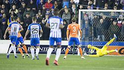 Kilmarnock Jordon Jones scores his side's second goal of the game during the Ladbrokes Scottish Premiership match at Rugby Park, Kilmarnock.