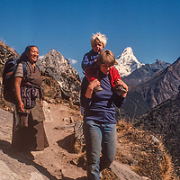 Meredith Wiltsie & 3-year old son Ben trek with Lhakpa Doma Sherpani in the Khumbu Region of Nepal, with Mount Ama Dablam  in background.