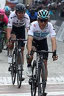 Michal Kwiatkowski and Tiesj Benoot during the UCI World Tour, Tirreno-Adriatico 2018, Stage 5, Castelraimondo to Filottrano, in Italy, on March 11, 2018 - Photo Laurent Lairys / ProSportsImages / DPPI