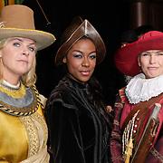 NLD/Amsterdam/20120209 - Bn' ers gefotografeerd als de Nachtwacht voor het Goed Geld Gala 2012, Irene Moors, Giovanca Ostiana, Anita Witzier,