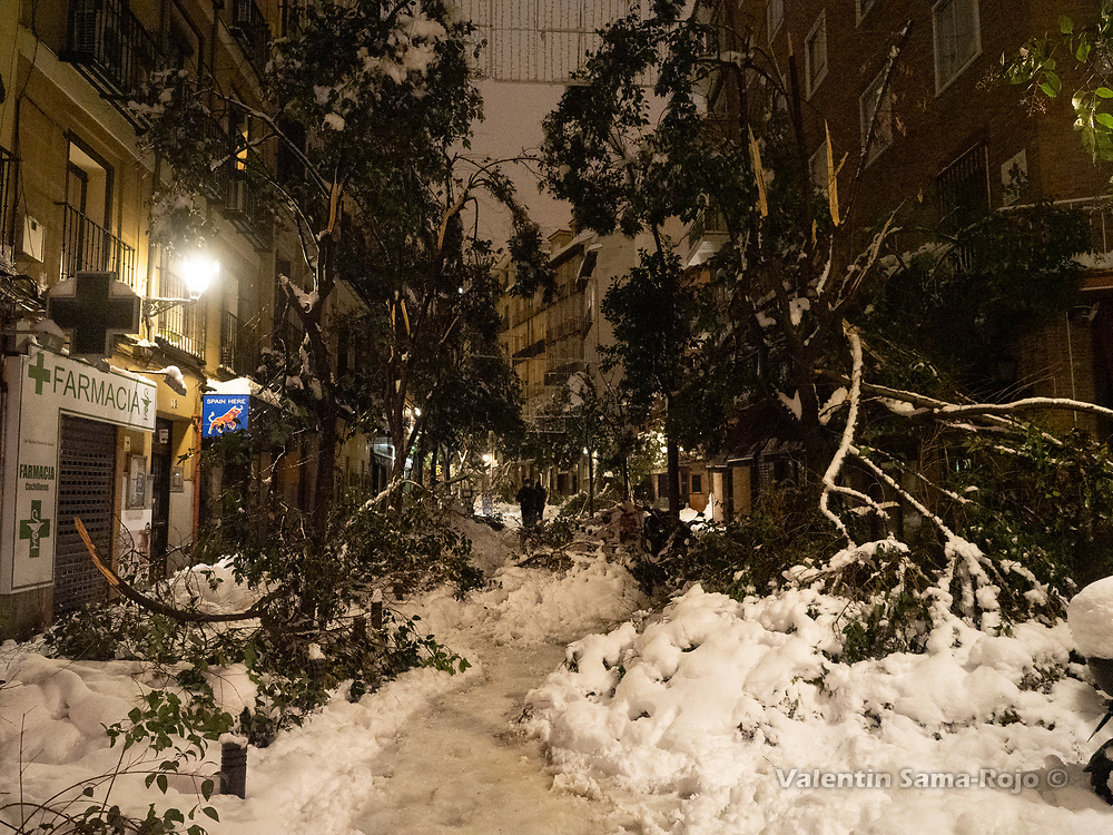Madrid, Spain. 9th January, 2021. View of a street at night covered with branches of fallen trees due the snowfall of storm Filomena. Storm Filomena hits Madrid (Spain), a weather alert was issued for cold temperatures and heavy snow storms across Spain; according to the weather agency Aemet is expected to be one of the snowiest days in recent years. © Valentin Sama-Rojo.