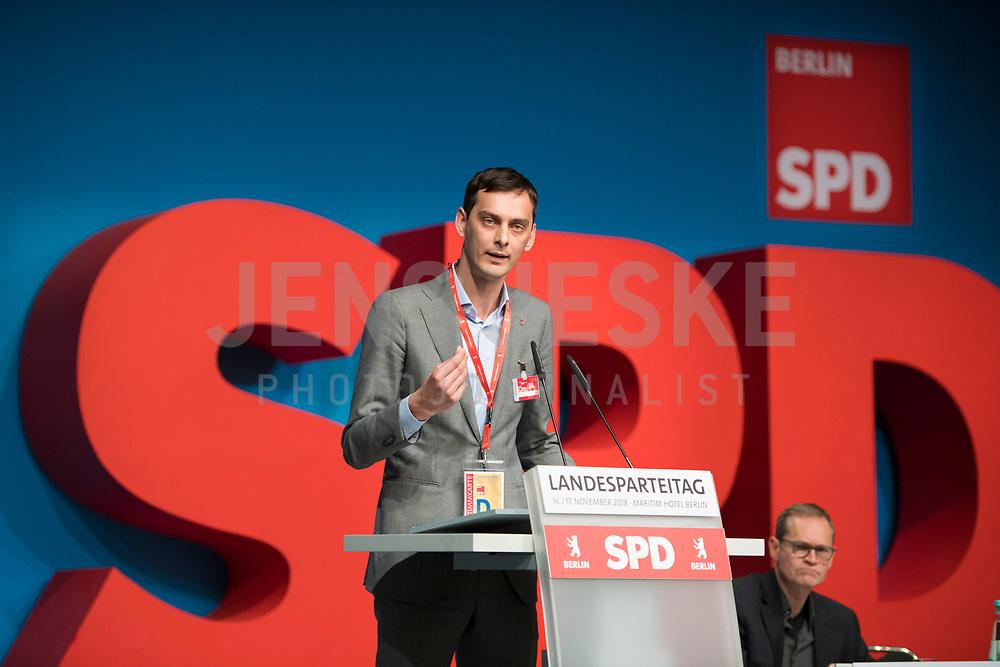DEU, Deutschland, Germany, Berlin, 17.11.2018: Neuköllns Bezirksbürgermeister Martin Hikel (SPD) beim Landesparteitag der Berliner SPD im Hotel Maritim.