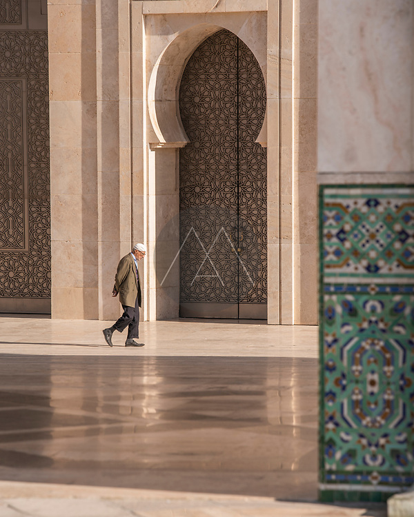 Casablanca, Morocco - 13 January 2019: View of tourists and persons at Hassan II mosque in Casablanca, Morocco.