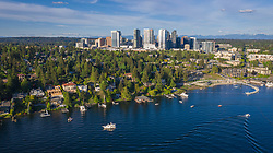 United States, Washington, Bellevue, boats on Lake Washington and downtown skyline (aerial)