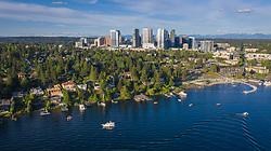 United States, Washington, Bellevue, boats on Lake Washington and downtown skyline (aerial)